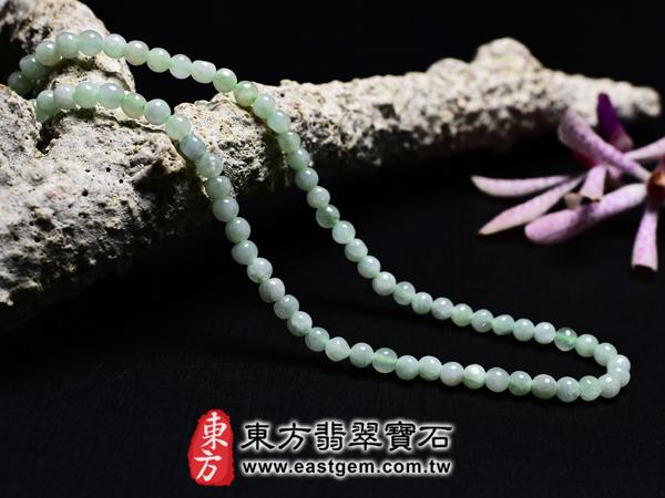 葡萄石天然珠串項鍊左側照片 葡萄石項鍊(葡萄石珠子,珠徑約4mm,MPB005)。客製化設計各種葡萄石珠串、葡萄石珠子、葡萄石項鍊、葡萄石手珠。★附天然玉石保證卡