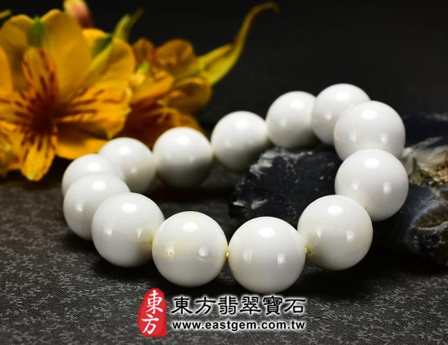 白硨磲天然玉石珠串手鍊正面照片  白硨磲手鍊(白硨磲珠子、白車渠珠子,珠徑約16.5mm,WCG001)。客製化設計各種白硨磲珠串、白硨磲珠子、白硨磲手鍊、白硨磲手珠。★附東方翡翠寶石保證卡