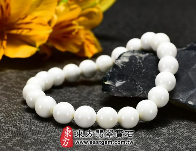 白硨磲天然玉石珠串手鍊右側照片  白硨磲手鍊(白硨磲珠子、白車渠珠子,珠徑約8mm,WCG012)。客製化設計各種白硨磲珠串、白硨磲珠子、白硨磲手鍊、白硨磲手珠。★附東方翡翠寶石保證卡