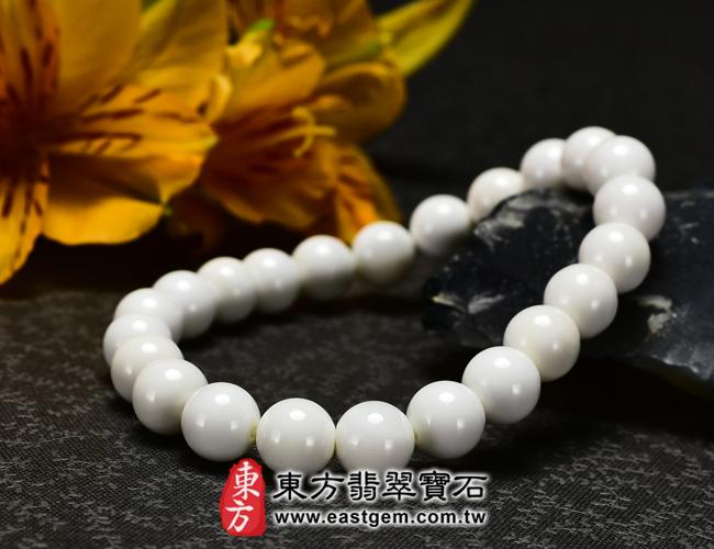 白硨磲天然玉石珠串手鍊正面照片  白硨磲手鍊(白硨磲珠子、白車渠珠子,珠徑約8mm,WCG014)。客製化設計各種白硨磲珠串、白硨磲珠子、白硨磲手鍊、白硨磲手珠。★附東方翡翠寶石保證卡