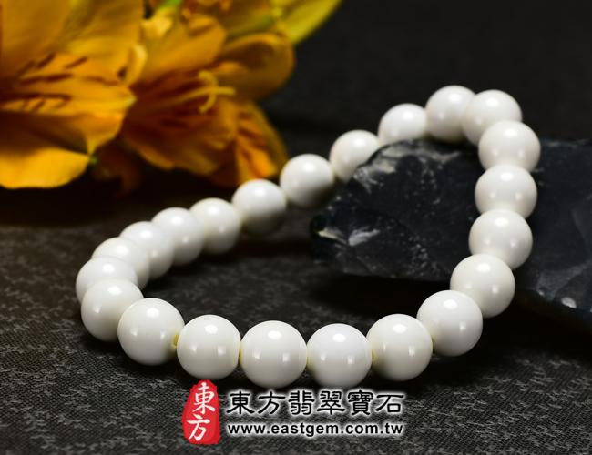 白硨磲天然玉石珠串手鍊  右側照片   白硨磲手鍊(白硨磲珠子,珠徑約8mm,WCG016)。客製化設計各種白硨磲珠串、白硨磲珠子、白硨磲手鍊、白硨磲手珠。★附東方翡翠寶石保證卡