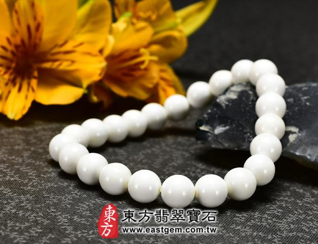 白硨磲天然玉石珠串手鍊右側照片   白硨磲手鍊(白硨磲珠子、白車渠珠子,珠徑約8mm,WCG018)。客製化設計各種白硨磲珠串、白硨磲珠子、白硨磲手鍊、白硨磲手珠。★附東方翡翠寶石保證卡