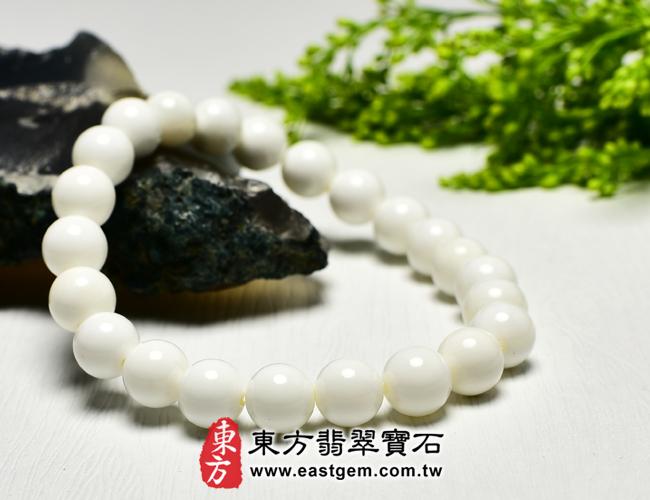 白硨磲天然玉石珠串手鍊左側照片   白硨磲手鍊(白硨磲珠子、白車渠珠子,珠徑約8mm,WCG018)。客製化設計各種白硨磲珠串、白硨磲珠子、白硨磲手鍊、白硨磲手珠。★附東方翡翠寶石保證卡