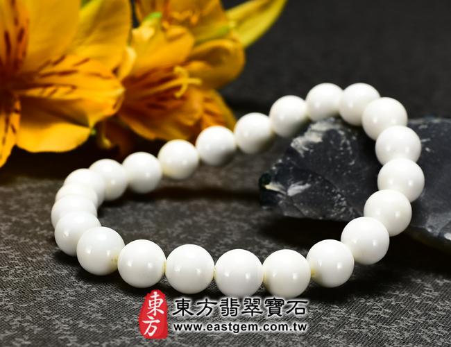 白硨磲天然玉石珠串手鍊右側照片   白硨磲手鍊(白硨磲珠子、白車渠珠子,珠徑約8mm,WCG019)。客製化設計各種白硨磲珠串、白硨磲珠子、白硨磲手鍊、白硨磲手珠。★附東方翡翠寶石保證卡