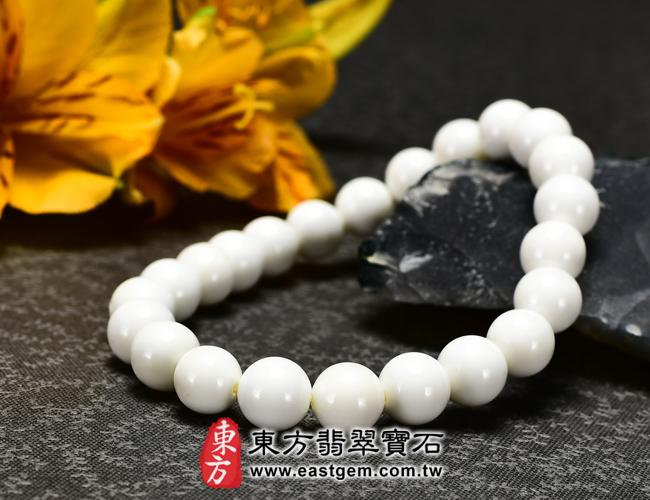 白硨磲天然玉石珠串手鍊右側照片   白硨磲手鍊(白硨磲珠子、白車渠珠子,珠徑約8mm,WCG021)。客製化設計各種白硨磲珠串、白硨磲珠子、白硨磲手鍊、白硨磲手珠。★附東方翡翠寶石保證卡