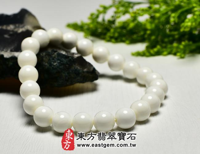 白硨磲天然玉石珠串手鍊左側照片   白硨磲手鍊(白硨磲珠子、白車渠珠子,珠徑約8mm,WCG021)。客製化設計各種白硨磲珠串、白硨磲珠子、白硨磲手鍊、白硨磲手珠。★附東方翡翠寶石保證卡