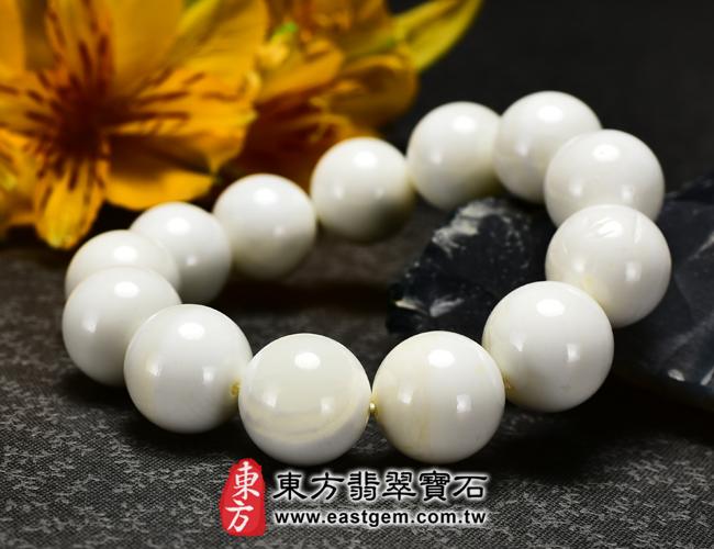 白硨磲天然玉石珠串手鍊正面照片  白硨磲手鍊(白硨磲珠子、白車渠珠子,珠徑約14mm,WCG002)。客製化設計各種白硨磲珠串、白硨磲珠子、白硨磲手鍊、白硨磲手珠。★附東方翡翠寶石保證卡