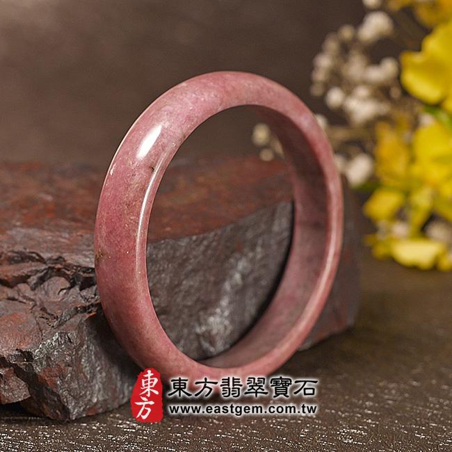 玫瑰石天然手鐲玉鐲 左側照片  玫瑰石手鐲、薔薇輝石手鐲。(粉紅色,圓鐲18,RO011)。客製化訂做各種玫瑰石手鐲、薔薇輝石手鐲。★附東方翡翠寶石雙證書