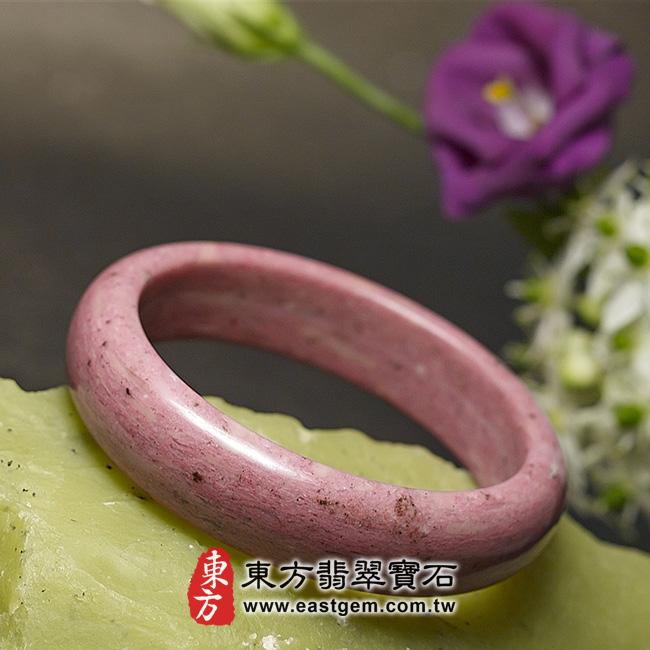 玫瑰石天然手鐲玉鐲 左側照片 玫瑰石手鐲、薔薇輝石手鐲。(粉紅色,圓鐲19,RO002)。客製化訂做各種玫瑰石手鐲、薔薇輝石手鐲。★附東方翡翠寶石保證卡