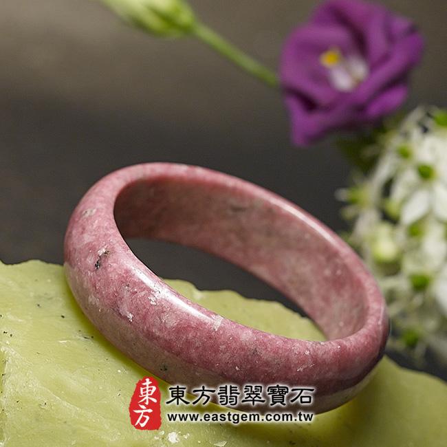玫瑰石天然手鐲玉鐲 左側照片 玫瑰石手鐲、薔薇輝石手鐲。(粉紅色,圓鐲18.5,RO003)。客製化訂做各種玫瑰石手鐲、薔薇輝石手鐲。★附東方翡翠寶石雙證書