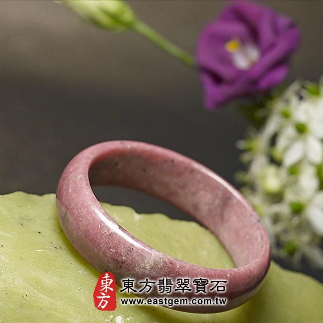 玫瑰石天然手鐲玉鐲 左側照片   玫瑰石手鐲、薔薇輝石手鐲。(粉紅色,圓鐲17.5,RO004)。客製化訂做各種玫瑰石手鐲、薔薇輝石手鐲。★附東方翡翠寶石雙證書