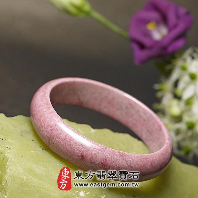 玫瑰石天然手鐲玉鐲 左側照片 玫瑰石手鐲、薔薇輝石手鐲。(粉紅色,圓鐲19,RO005)。客製化訂做各種玫瑰石手鐲、薔薇輝石手鐲。★附東方翡翠寶石雙證書