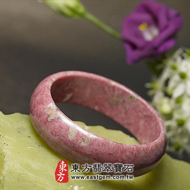 玫瑰石天然手鐲玉鐲 左側照片 玫瑰石手鐲、薔薇輝石手鐲。(粉紅色,圓鐲18.5,RO006)。客製化訂做各種玫瑰石手鐲、薔薇輝石手鐲。★附東方翡翠寶石保證卡