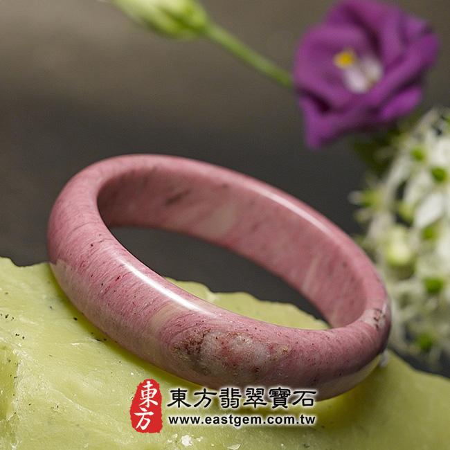 玫瑰石天然手鐲玉鐲 左側照片 玫瑰石手鐲、薔薇輝石手鐲。(粉紅色,圓鐲19.5,RO007)。客製化訂做各種玫瑰石手鐲、薔薇輝石手鐲。★附東方翡翠寶石保證卡