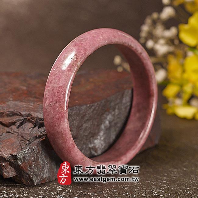 玫瑰石天然手鐲玉鐲 左側照片 玫瑰石手鐲、薔薇輝石手鐲。(粉紅色,圓鐲18.5,RO010)。客製化訂做各種玫瑰石手鐲、薔薇輝石手鐲。★附東方翡翠寶石雙證書