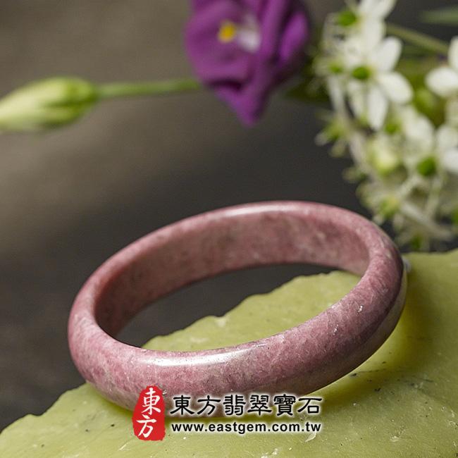 玫瑰石天然手鐲玉鐲 右側照片 玫瑰石手鐲、薔薇輝石手鐲。(粉紅色,圓鐲18.5,RO010)。客製化訂做各種玫瑰石手鐲、薔薇輝石手鐲。★附東方翡翠寶石雙證書