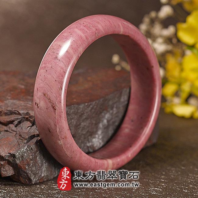 玫瑰石天然手鐲玉鐲 左側照片 玫瑰石手鐲、薔薇輝石手鐲。(粉紅色,圓鐲19.5,RO013)。客製化訂做各種玫瑰石手鐲、薔薇輝石手鐲。★附東方翡翠寶石保證卡