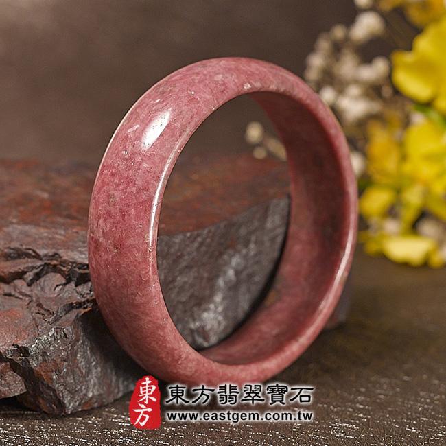 玫瑰石天然手鐲玉鐲 左側照片 玫瑰石手鐲、薔薇輝石手鐲。(粉紅色,圓鐲18.5,RO014)。客製化訂做各種玫瑰石手鐲、薔薇輝石手鐲。★附東方翡翠寶石雙證書