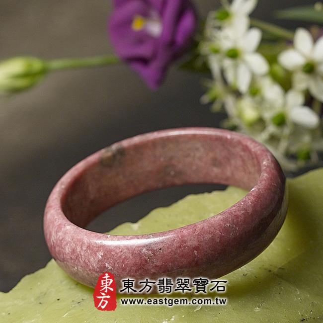 玫瑰石天然手鐲玉鐲 右側照片 玫瑰石手鐲、薔薇輝石手鐲。(粉紅色,圓鐲18.5,RO014)。客製化訂做各種玫瑰石手鐲、薔薇輝石手鐲。★附東方翡翠寶石雙證書
