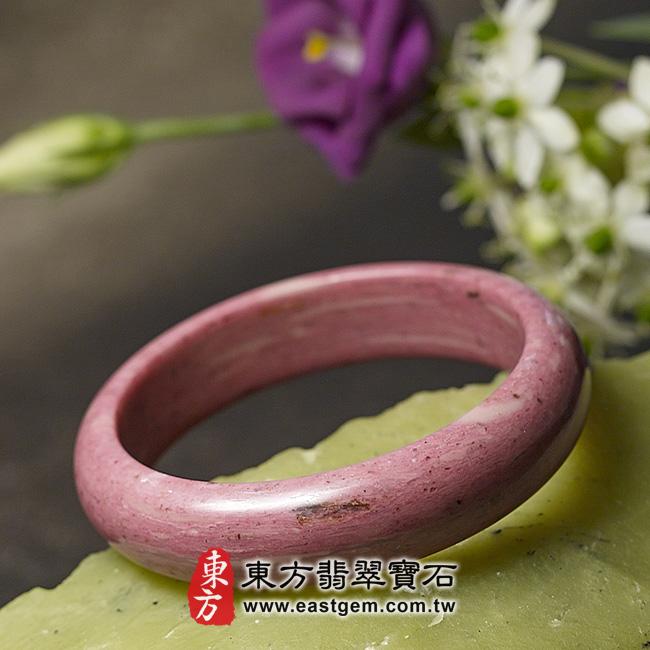 玫瑰石天然手鐲玉鐲 右側照片玫瑰石手鐲、薔薇輝石手鐲。(粉紅色,圓鐲19.5,RO015)。客製化訂做各種玫瑰石手鐲、薔薇輝石手鐲。★附東方翡翠寶石保證卡