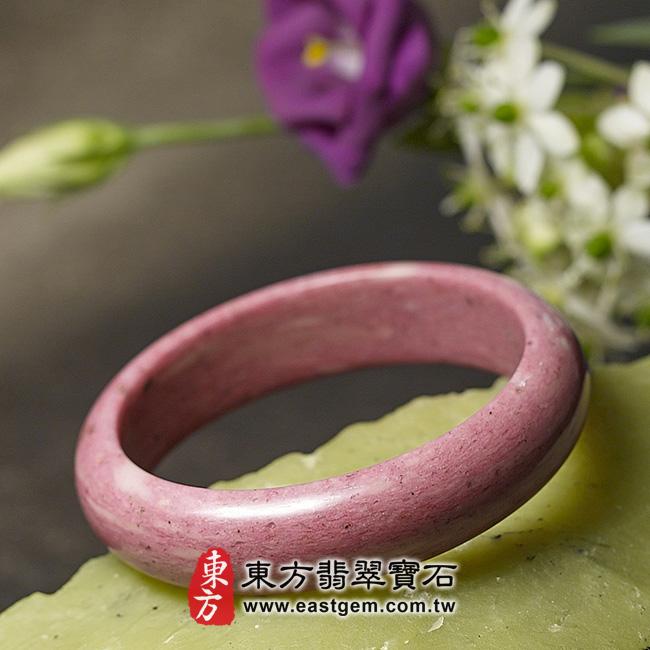 玫瑰石天然手鐲玉鐲 右側照片 玫瑰石手鐲、薔薇輝石手鐲。(粉紅色,圓鐲19.5,RO015)。客製化訂做各種玫瑰石手鐲、薔薇輝石手鐲。★附東方翡翠寶石保證卡