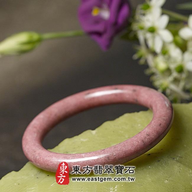 玫瑰石天然手鐲玉鐲 右側照片  玫瑰石手鐲、薔薇輝石手鐲。(粉紅色,圓鐲19,RO016)。客製化訂做各種玫瑰石手鐲、薔薇輝石手鐲。★附東方翡翠寶石雙證書