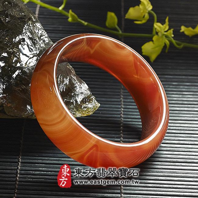 天珠紅瑪瑙玉髓手鐲玉鐲 左側照片 天珠紅瑪瑙手鐲。(圓鐲19,RM010)。客製化訂做各種天珠紅瑪瑙手鐲。★附東方翡翠寶石雙證書