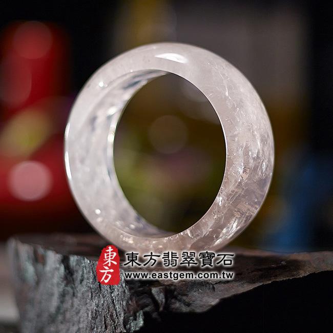 冰種粉晶天然手鐲玉鐲右側照片 冰種粉晶手鐲、粉晶手鐲。(粉色,半透光,圓鐲17.5,PI005)。客製化訂做各種冰種粉晶手鐲、粉晶手鐲。★附東方翡翠寶石雙證書