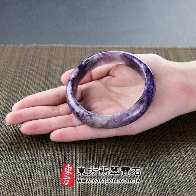 紫龍晶天然手鐲玉鐲大小示意照片 紫龍晶手鐲。(紫色帶白色,圓鐲19.5)PU002。客製化訂做各種紫龍晶手鐲。★附東方翡翠寶石雙證書