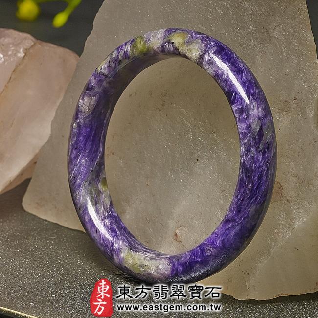 紫龍晶天然手鐲玉鐲右側照片  紫龍晶手鐲。(紫色帶白色,圓鐲18.5)PU004。客製化訂做各種紫龍晶手鐲。★附東方翡翠寶石雙證書