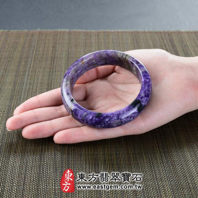 紫龍晶天然手鐲玉鐲大小示意照片  紫龍晶手鐲。(紫色帶白色,圓鐲18.5)PU005。客製化訂做各種紫龍晶手鐲。★附東方翡翠寶石雙證書