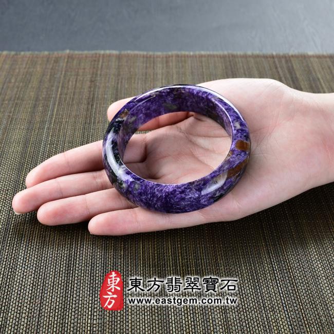 紫龍晶天然手鐲玉鐲大小示意照片 紫龍晶手鐲。(紫色帶白色,圓鐲17.5)PU006。客製化訂做各種紫龍晶手鐲。★附東方翡翠寶石雙證書
