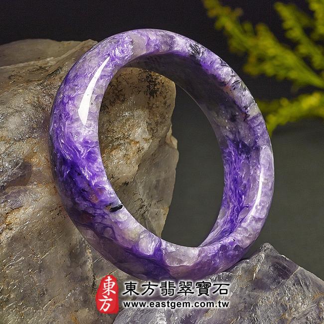 紫龍晶天然手鐲玉鐲左側照片  紫龍晶手鐲。(紫色帶白色,圓鐲18)PU008。客製化訂做各種紫龍晶手鐲。★附東方翡翠寶石雙證書