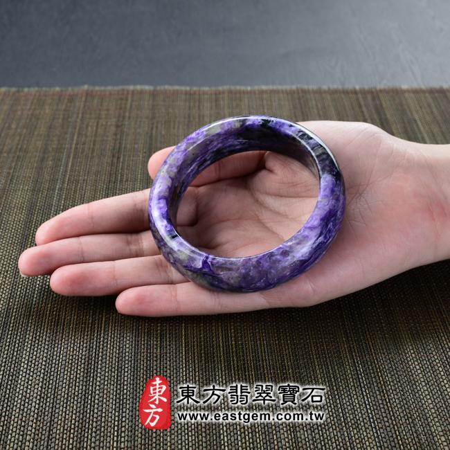 紫龍晶天然手鐲玉鐲大小示意照片 紫龍晶手鐲。(紫色帶白色,圓鐲18)PU008。客製化訂做各種紫龍晶手鐲。★附東方翡翠寶石雙證書