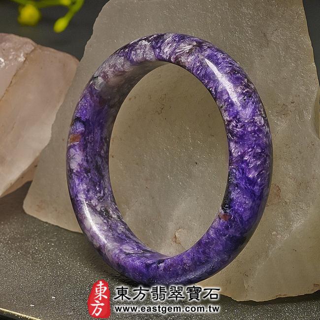 紫龍晶天然手鐲玉鐲右側照片  紫龍晶手鐲。(紫色帶白色,圓鐲18.5)PU009。客製化訂做各種紫龍晶手鐲。★附東方翡翠寶石雙證書