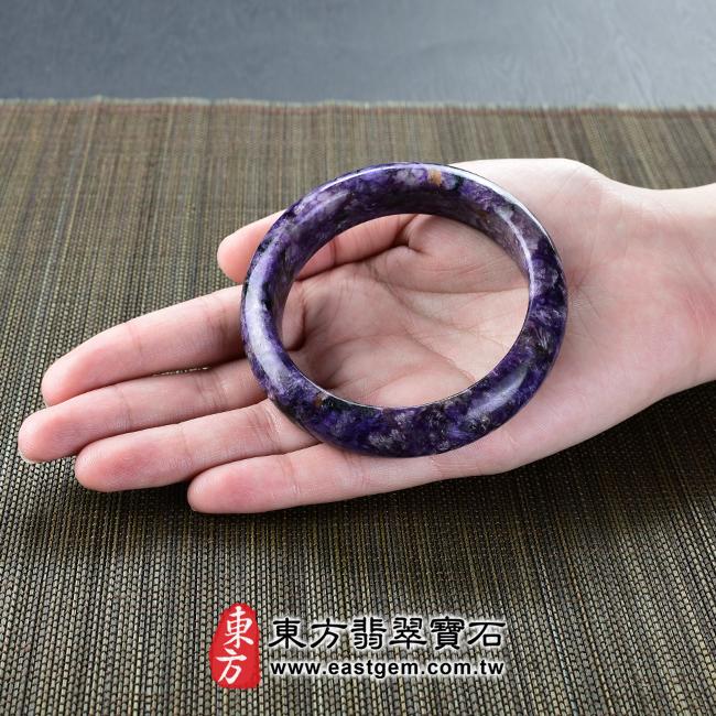 紫龍晶天然手鐲玉鐲大小示意照片 紫龍晶手鐲。(紫色帶白色,圓鐲18.5)PU009。客製化訂做各種紫龍晶手鐲。★附東方翡翠寶石雙證書