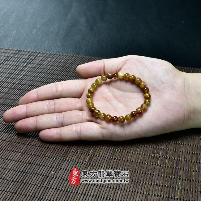 髮晶天然玉石珠串手鍊大小示意圖照片   髮晶手鍊(髮晶珠子,珠徑約6~6.5mm,OFJ044) 客製化設計各種髮晶珠串、髮晶珠子、髮晶手珠。★附東方翡翠寶石保證卡