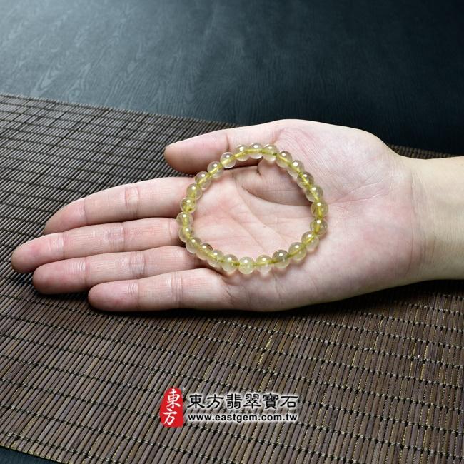 髮晶天然玉石珠串手鍊大小示意圖照片   髮晶手鍊(髮晶珠子,珠徑約7.5~8mm,OFJ048) 客製化設計各種髮晶珠串、髮晶珠子、髮晶手珠。★附東方翡翠寶石保證卡