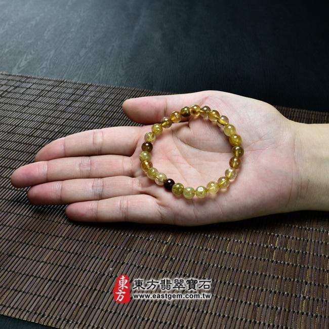 髮晶天然玉石珠串手鍊大小示意圖照片   髮晶手鍊(髮晶珠子,珠徑約7~7.5mm,OFJ056) 客製化設計各種髮晶珠串、髮晶珠子、髮晶手珠。★附東方翡翠寶石保證卡