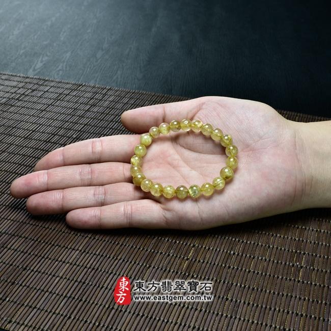 髮晶天然玉石珠串手鍊大小示意圖照片   髮晶手鍊(髮晶珠子,珠徑約7.5~8mm,OFJ057) 客製化設計各種髮晶珠串、髮晶珠子、髮晶手珠。★附東方翡翠寶石保證卡