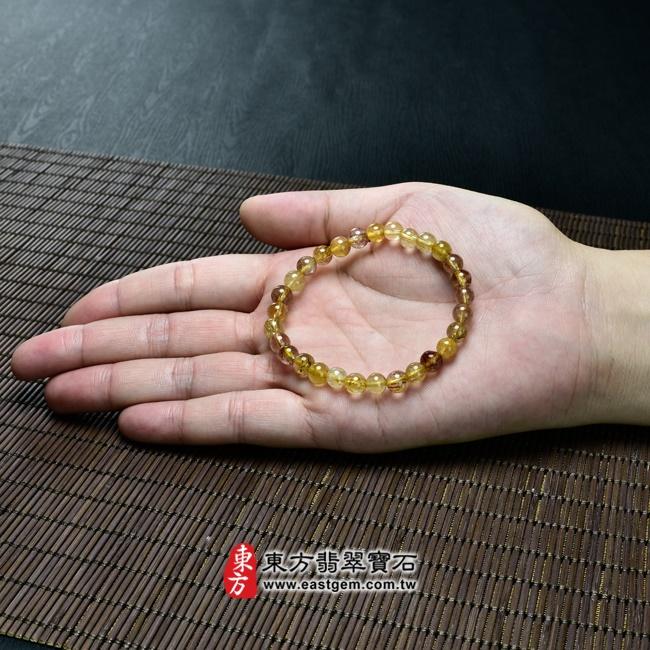 髮晶天然玉石珠串手鍊大小示意圖照片   髮晶手鍊(髮晶珠子,珠徑約6.5~7mm,OFJ063) 客製化設計各種髮晶珠串、髮晶珠子、髮晶手珠。★附東方翡翠寶石保證卡