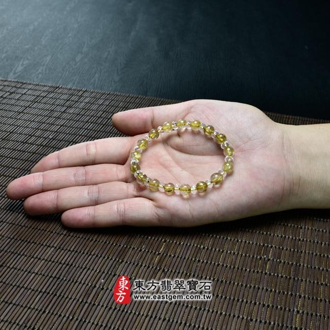 髮晶手鍊大小示意圖照片 髮晶手鍊(髮晶珠子,髮晶珠徑約7mm、透明格珠珠徑約5.5mm,OFJ203) 客製化設計各種髮晶珠串、髮晶珠子、髮晶手珠。★附東方翡翠寶石保證卡