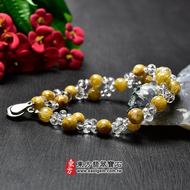 髮晶手鍊正面照片 髮晶手鍊(髮晶珠子,髮晶珠徑約7mm、透明格珠珠徑約3~5.5mm,OFJ207) 客製化設計各種髮晶珠串、髮晶珠子、髮晶手珠。★附東方翡翠寶石保證卡