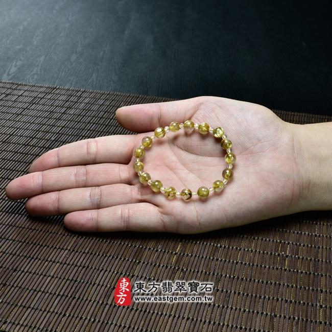 髮晶手鍊大小示意圖照片 髮晶手鍊(髮晶珠子,髮晶珠徑約7mm、透明格珠珠徑約3mm,OFJ208) 客製化設計各種髮晶珠串、髮晶珠子、髮晶手珠。★附東方翡翠寶石保證卡