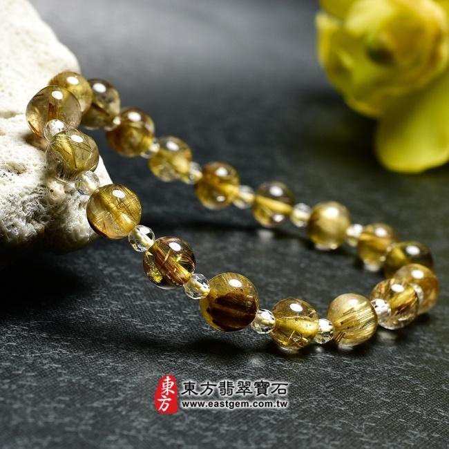 髮晶手鍊背面照片 髮晶手鍊(髮晶珠子,髮晶珠徑約7~7.5mm、透明格珠珠徑約3mm,OFJ216) 客製化設計各種髮晶珠串、髮晶珠子、髮晶手珠。★附東方翡翠寶石保證卡
