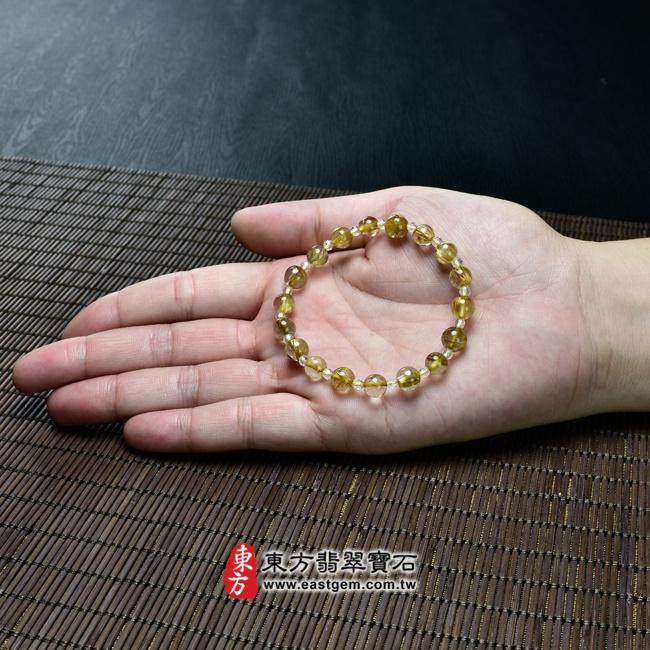 髮晶手鍊大小示意圖照片 髮晶手鍊(髮晶珠子,髮晶珠徑約7~7.5mm、透明格珠珠徑約3mm,OFJ216) 客製化設計各種髮晶珠串、髮晶珠子、髮晶手珠。★附東方翡翠寶石保證卡
