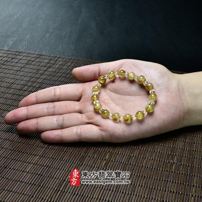 髮晶手鍊大小示意圖照片 髮晶手鍊(髮晶珠子,髮晶珠徑約8.5mm、透明格珠珠徑約5.5mm,OFJ218) 客製化設計各種髮晶珠串、髮晶珠子、髮晶手珠。★附東方翡翠寶石保證卡