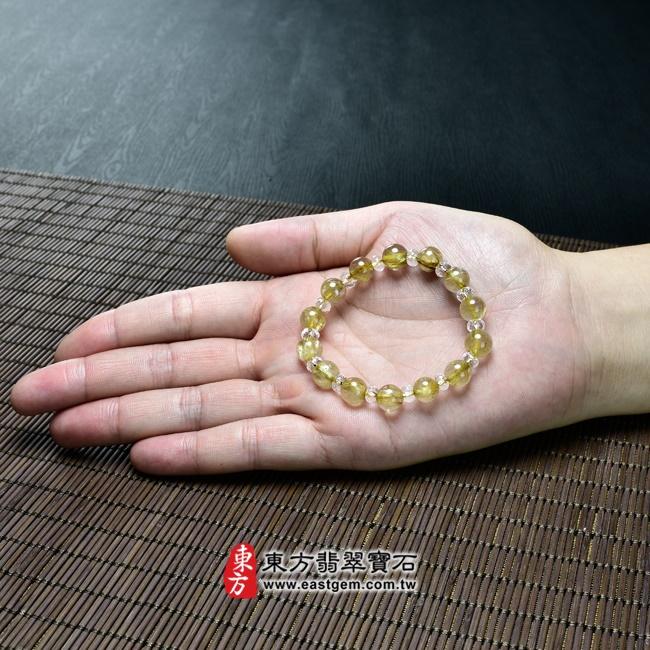 髮晶手鍊大小示意圖照片 髮晶手鍊(髮晶珠子,髮晶珠徑約8~8.5mm、透明格珠珠徑約5~5.5mm,OFJ221) 客製化設計各種髮晶珠串、髮晶珠子、髮晶手珠。★附東方翡翠寶石保證卡