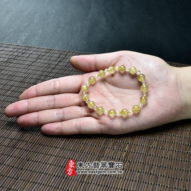 髮晶手鍊大小示意圖照片 髮晶手鍊(髮晶珠子,髮晶珠徑約8mm、透明格珠珠徑約4mm,OFJ223) 客製化設計各種髮晶珠串、髮晶珠子、髮晶手珠。★附東方翡翠寶石保證卡