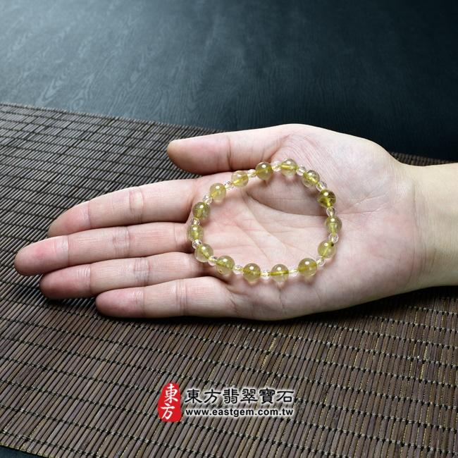 髮晶手鍊大小示意圖照片 髮晶手鍊(髮晶珠子,髮晶珠徑約8mm、透明格珠珠徑約4mm,OFJ227) 客製化設計各種髮晶珠串、髮晶珠子、髮晶手珠。★附東方翡翠寶石保證卡